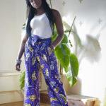 Gamou wearing Purple Unisex Kimono Style Pants - Belted