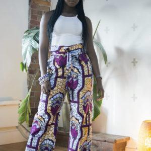 Gamou wearing Rose Unisex Kimono Style Pants - Belted