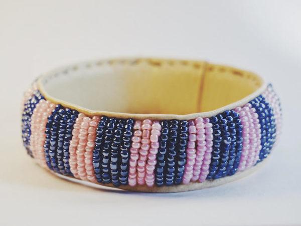 Regular VIOLET STRIPES Beaded Leather Bangle Bracelet